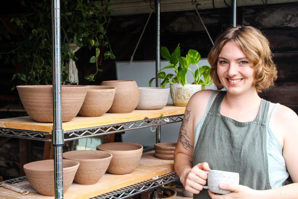 Sally Flannery ceramicist at her studio